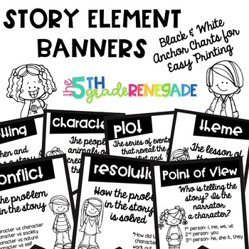 Story Elements Banners with Cute Kids ~Black & White~ For Easy Printing