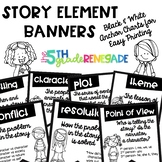 Story Elements Banners with Cute Kids ~Black & White~ For