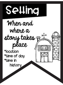 Story Elements Banners with Farm Theme ~Black & White~ For Easy Printing
