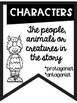Story Elements Banners with Friendly Monster Theme ~Black & White~ Easy Printing