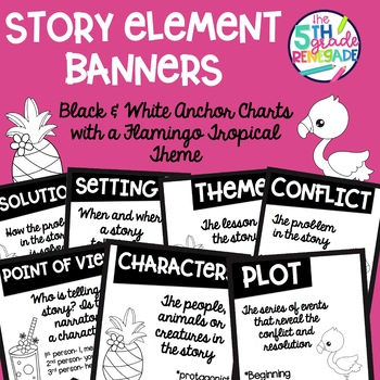 Story Elements Black & White Banners with a Flamingo Tropical Theme