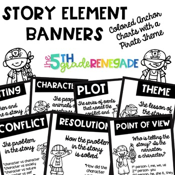 Story Elements Black and White Banners with a Pirate Theme for Easy Printing
