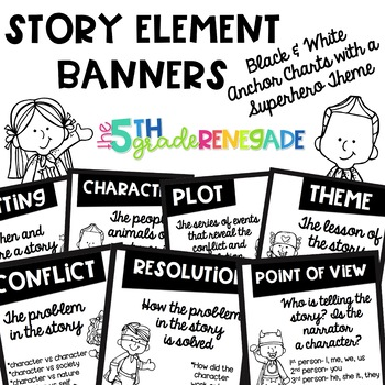 Story Elements Black and White Banners with a Superhero Theme for Easy Printing