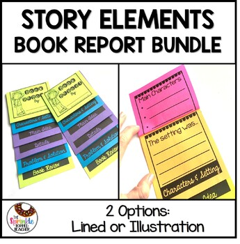 Story Elements Book Report - Illustration & Written Version - Flip Books