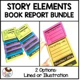Fiction Book Report Template   Story Elements Flip Book Bundle