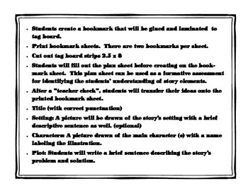 Story Elements Bookmark Activity