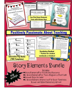 Story Elements Bundle: Interactive Flip Books, Tests, & Vo