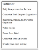 Story Elements - Character, Setting, Plot Daily Lessons and Review Resources