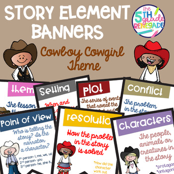 Story Elements Colored Banners with Cowboy Theme
