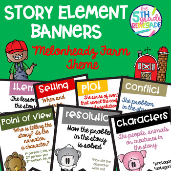 Story Elements Colored Banners with Farm Theme