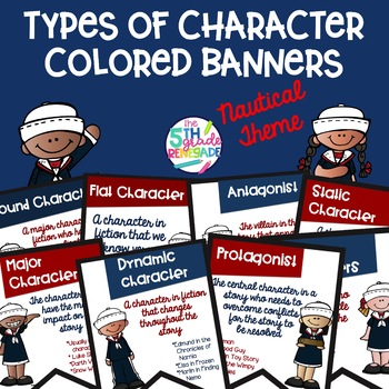 Types of Characters Colored Banners with Nautical Theme