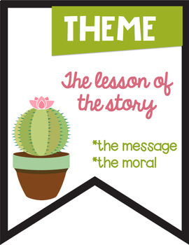 Story Elements Colored Banners with a Cactus Succulent Theme