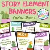 Story Elements Colored Banners Posters with a Cactus Succu