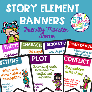 Story Elements Colored Banners with a Friendly Monster Theme