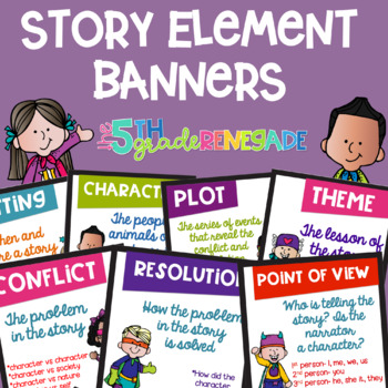 Story Elements Colored Banners with a Superhero Theme