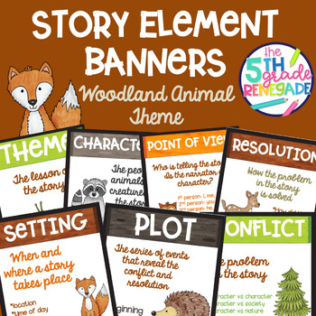 Story Elements Colored Banners with a *Woodland Animal* Theme