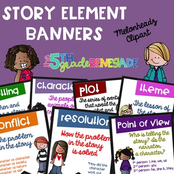 Story Elements Colored and Black & White Banners Combo with Cute Kids