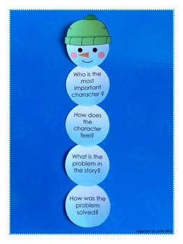"Story Elements and Reading Comprehension Game ""Build a Snowman"""