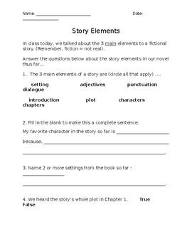 Story Elements Comprehension Quiz
