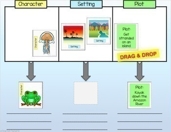 Story Elements Writing Paperless Digital Task Cards for Google Classroom