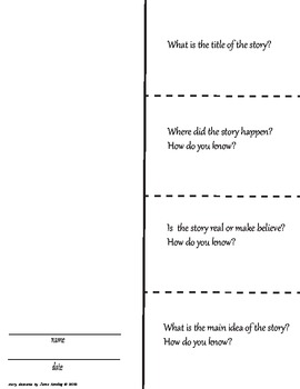 Story Elements Foldable--pre-planned ?'s after RDNG (GREAT for SPED!)