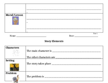 Story Elements Graphic Organizer (3 differentiated options)