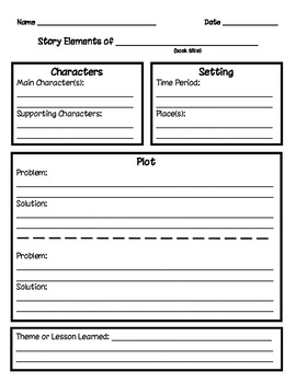 Story Elements Graphic Organizer (Grades 2 - 4)