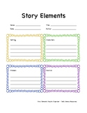 Story Elements Graphic Organizer - Setting, Chararcter, Problem, Solution