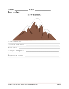 Story Elements Graphic Organizer by Kleinspiration