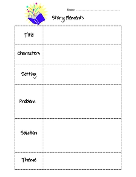 Story Elements Graphic Organizer for ANY book