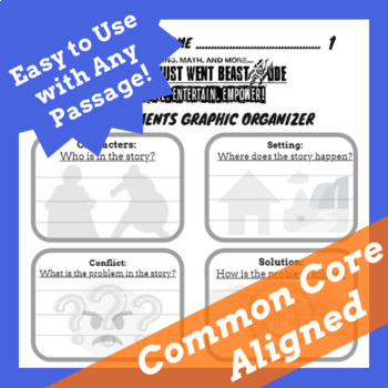 Story Elements Graphic Organizer with Visuals & Lines, Story Elements Worksheet