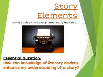 Story Elements Literary Terms Bundle - Interactive PowerPoint, Quiz, Study Guide