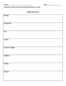 Story Elements Note-taking Printable