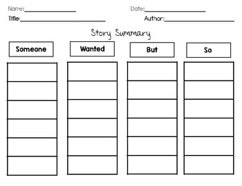 Story Elements Organizer for January
