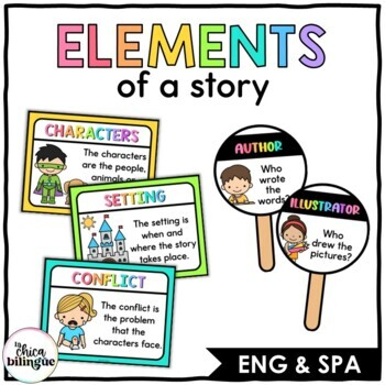 Story Elements Poster Set & Comprehension Wands {English & Spanish}