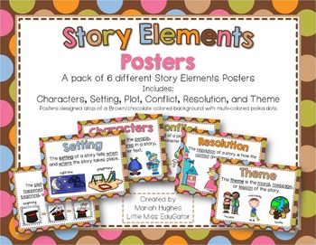 Story Elements Posters - Multi-Colored Polka Dots on Chocolate Theme