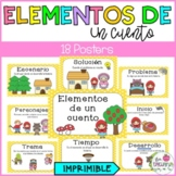 Story Elements Posters in Spanish/ Los elementos de un cuento