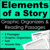 Story Elements Reading Passages and Graphic Organizers - P