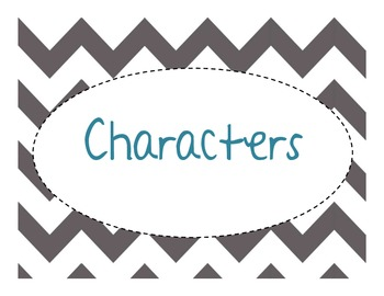 Story Elements - Set of 5 posters - Chevron - Grey/Blue