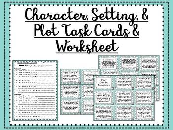 Story Elements Task Cards & Worksheet