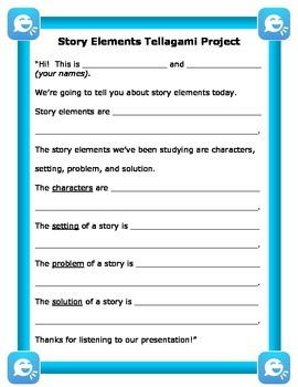 Story Elements Tellagami iPad Project Handout