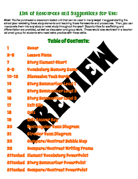 Story Elements Unit - NO PREP - Story Elements and Compare/Contrast Bundle