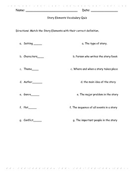 Story Elements Vocabulary Quiz