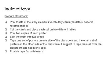 Story Elements Vocabulary Team Review and Test Prep