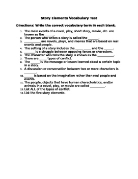 Story Elements Vocabulary Test