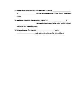 Story Elements - fill in the blank study guide