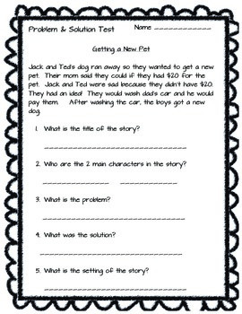 Story Elements/Problem/Solution test
