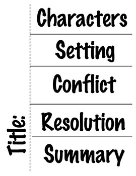 Story Foldable - Characters, Setting, Conflict, Resolution, Summary