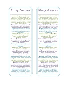Story Genre Bookmark