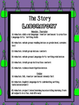 Story Laboratory: Daily Schedule for ELA/Science Class